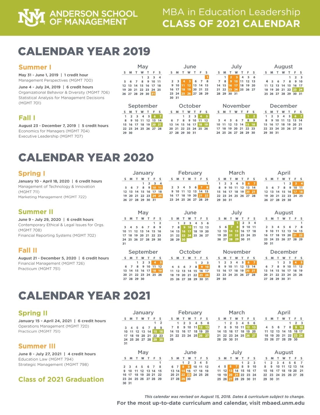 Calendar, Schedule, And Course Descriptions :: Anderson Mba In Perky Anderson 2 School Calendar