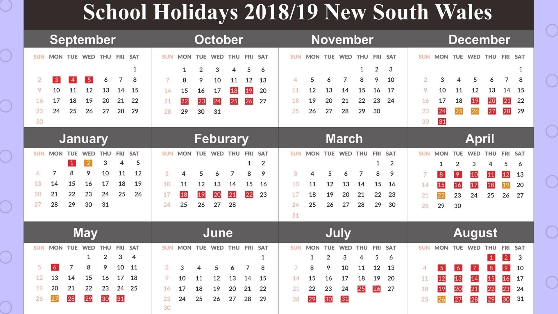 Calendar School Holidays Nsw • Printable Blank Calendar Template School Calendar Nsw 2019