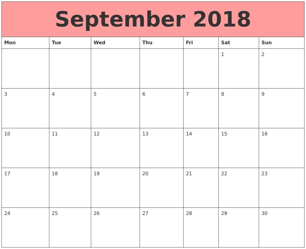 Calendar September 2018 Monday Start | September 2018 Calendar Calendar Template Starting With Monday