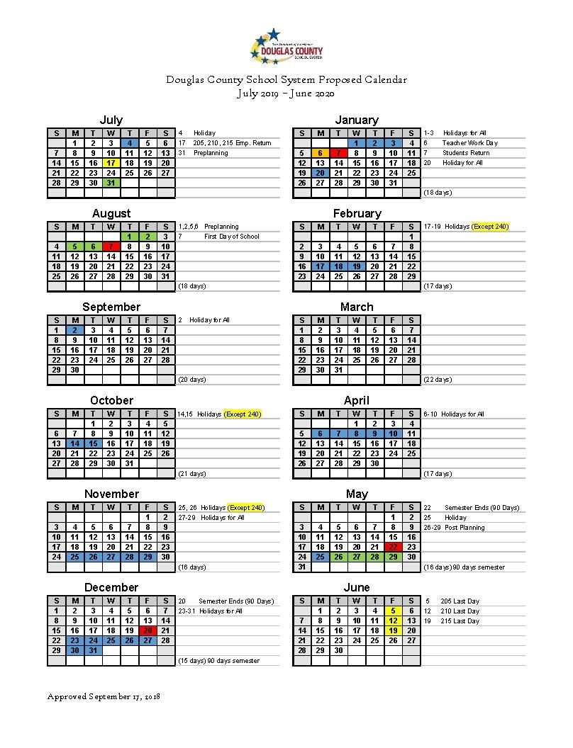 Calendar Set For 2019-2020 - Douglas County School System 2020 Calendar With Numbered Days