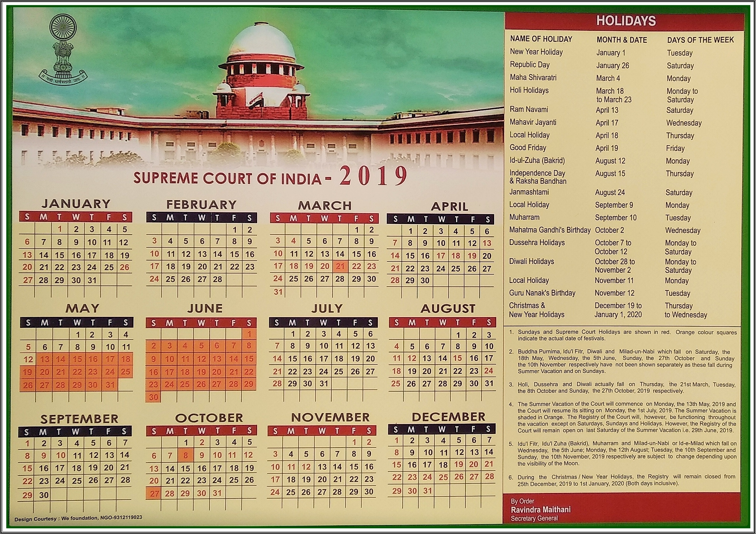 Calendar | Supreme Court Of India Exceptional 2020 Calendar India Holidays