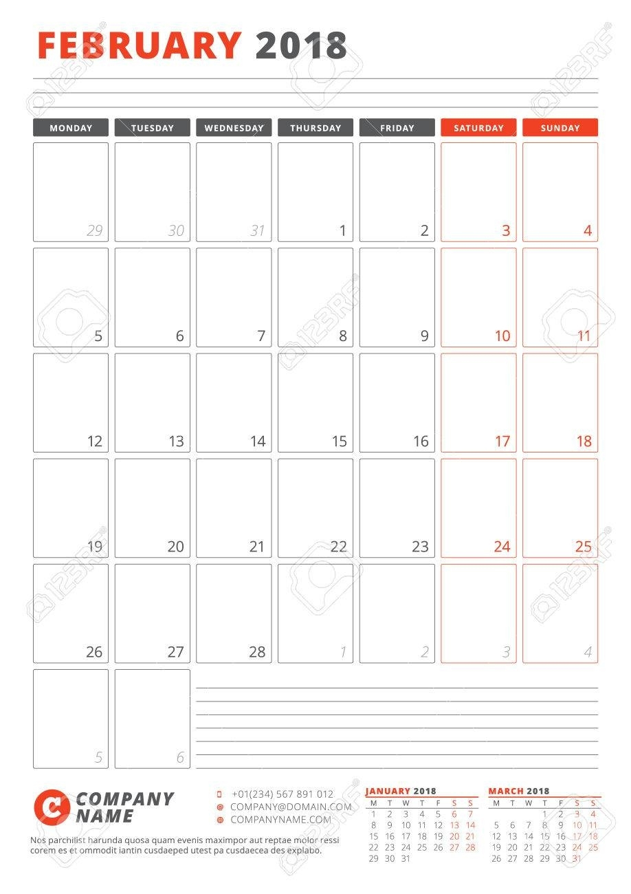 Calendar Template For February 2018. Business Planner 2018 Template Calendar Template 1 Week
