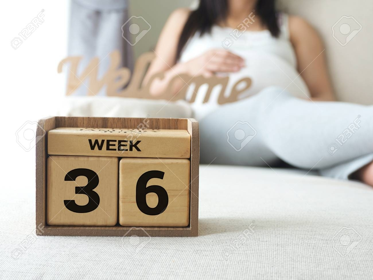 Calendar With Weeks 36 Of Pregnant With Pregnancy Woman Background Countdown Calendar In Weeks