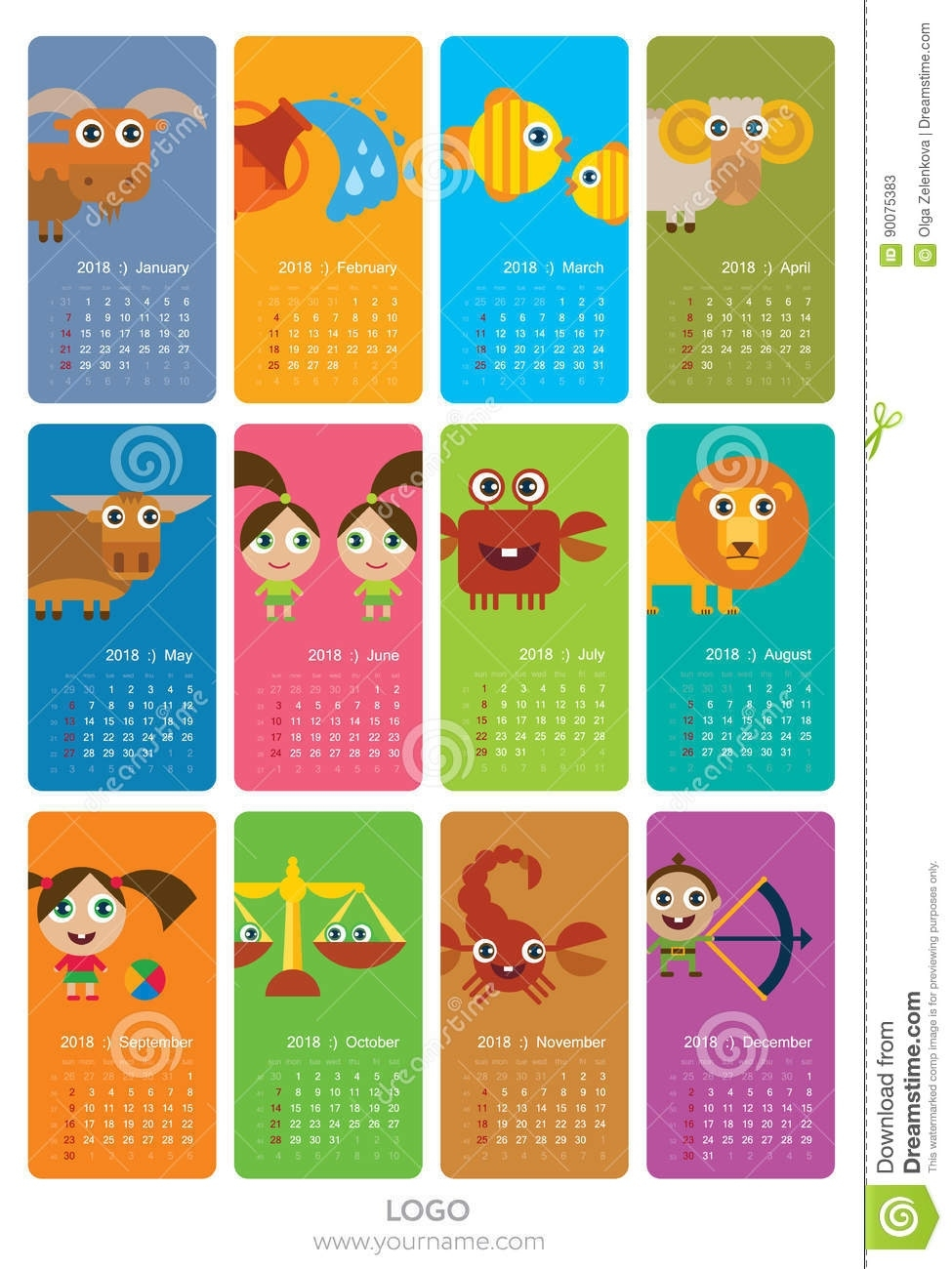 Calendar With Zodiac Signs Stock Illustration. Illustration Of Calendar For Zodiac Signs