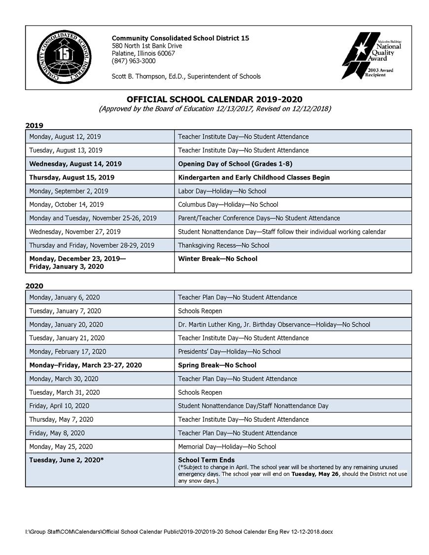 Calendars / 2019-20 Official School Calendar November 3 2020 Calendar