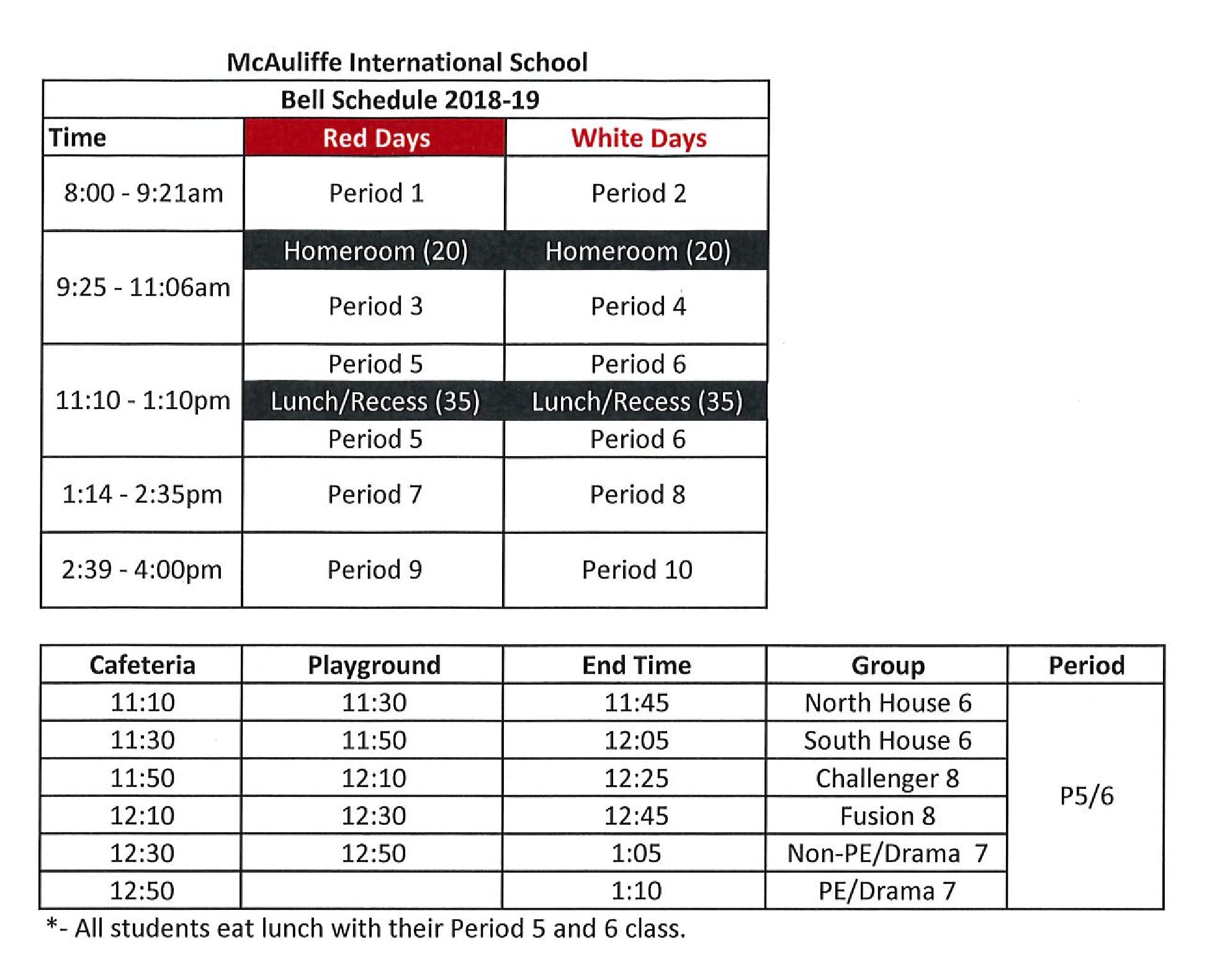 Calendars + Bell Schedule | Mcauliffe International School Challenger 7 School Calendar