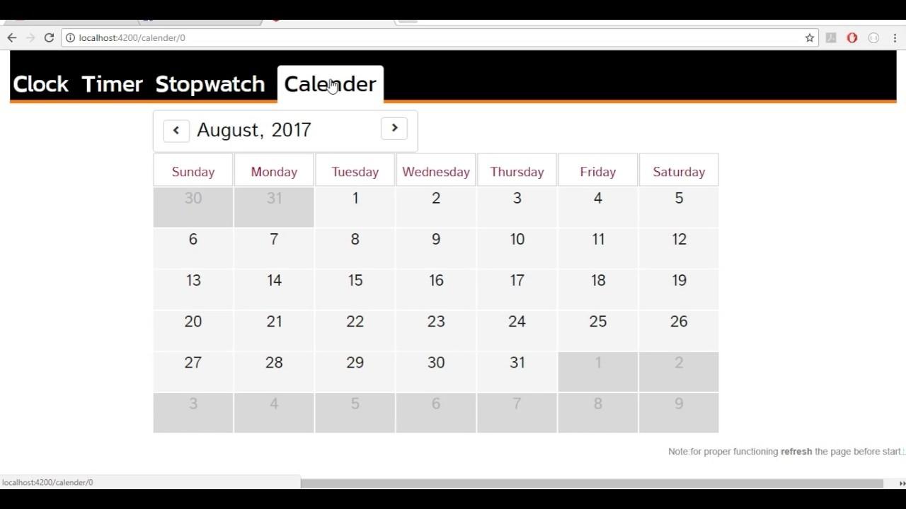 Clock   Stopwatch   Calendar   Timer : Angular2 & Momentjs - Youtube Angular 2 Calendar Template