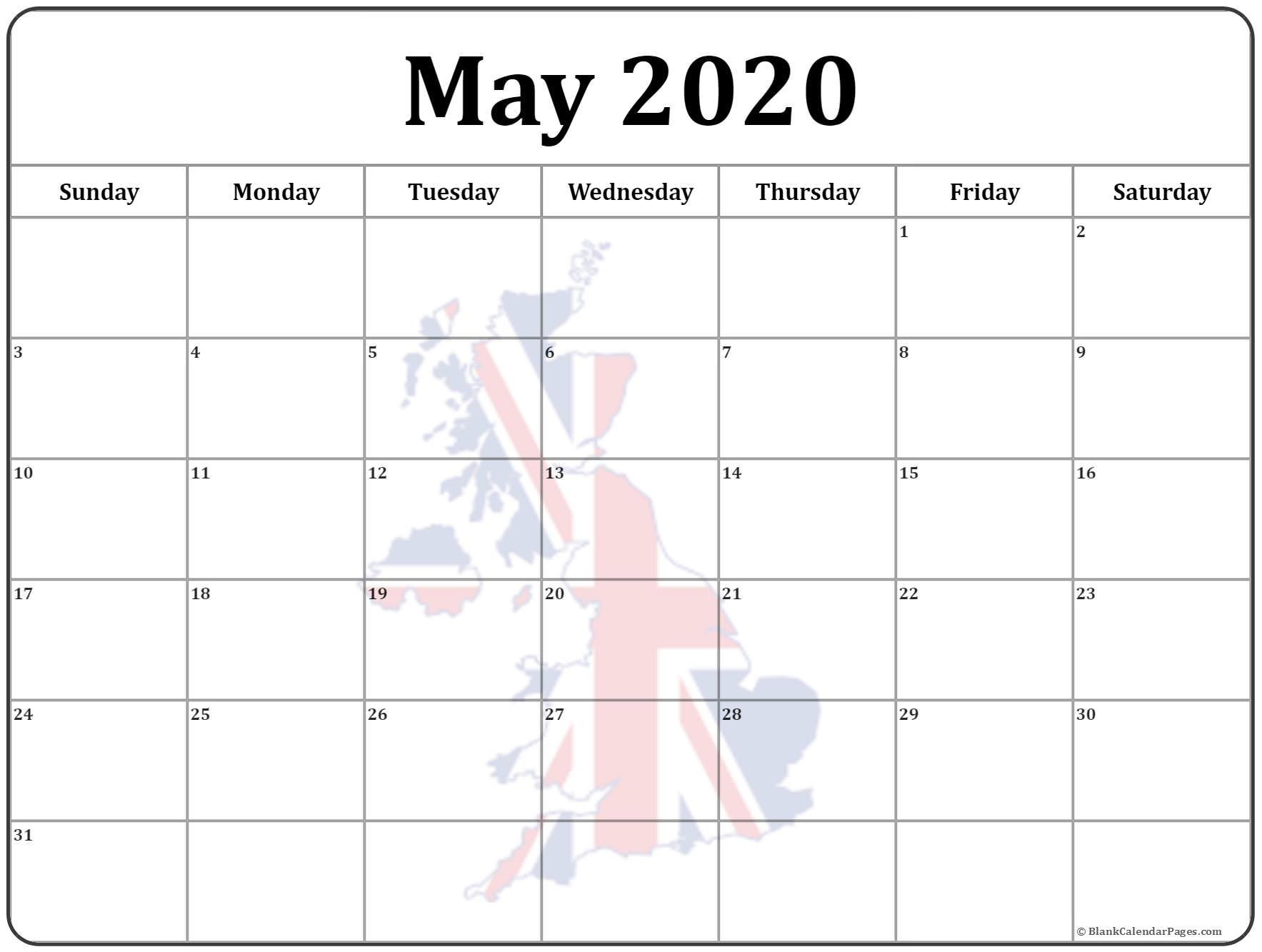 Collection Of May 2020 Photo Calendars With Image Filters. May 2020 Calendar Uk
