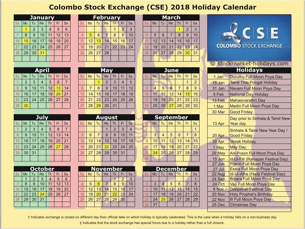 Colombo Stock Exchange 2018 / 2019 Holidays : Cse Holidays 2018 2020 Calendar Sri Lanka