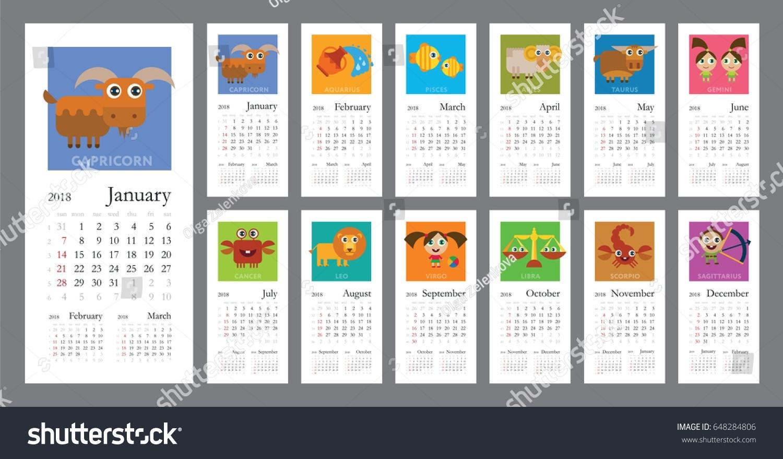 Creative Calendar 2018 Horoscope Signs Zodiac Stock Vector (Royalty Zodiac Calendar Signs Dates
