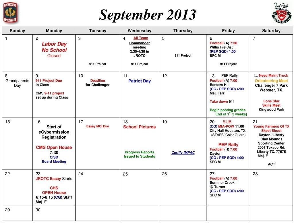 Crosby High School Jrotc / Lotc Events Calendar - Ppt Download Challenger 7 School Calendar