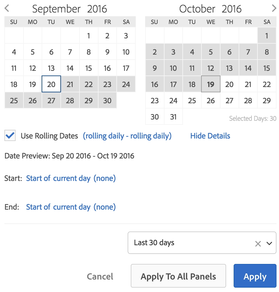 Date Ranges - Getting Started With Analytics Calendar Month Vs Rolling Month