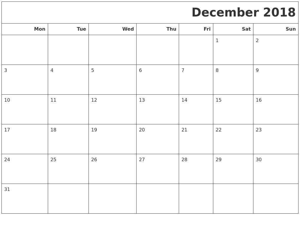December 2018 Starting On Monday | Calendar Format Example-Calender Calendar Template Starting With Monday