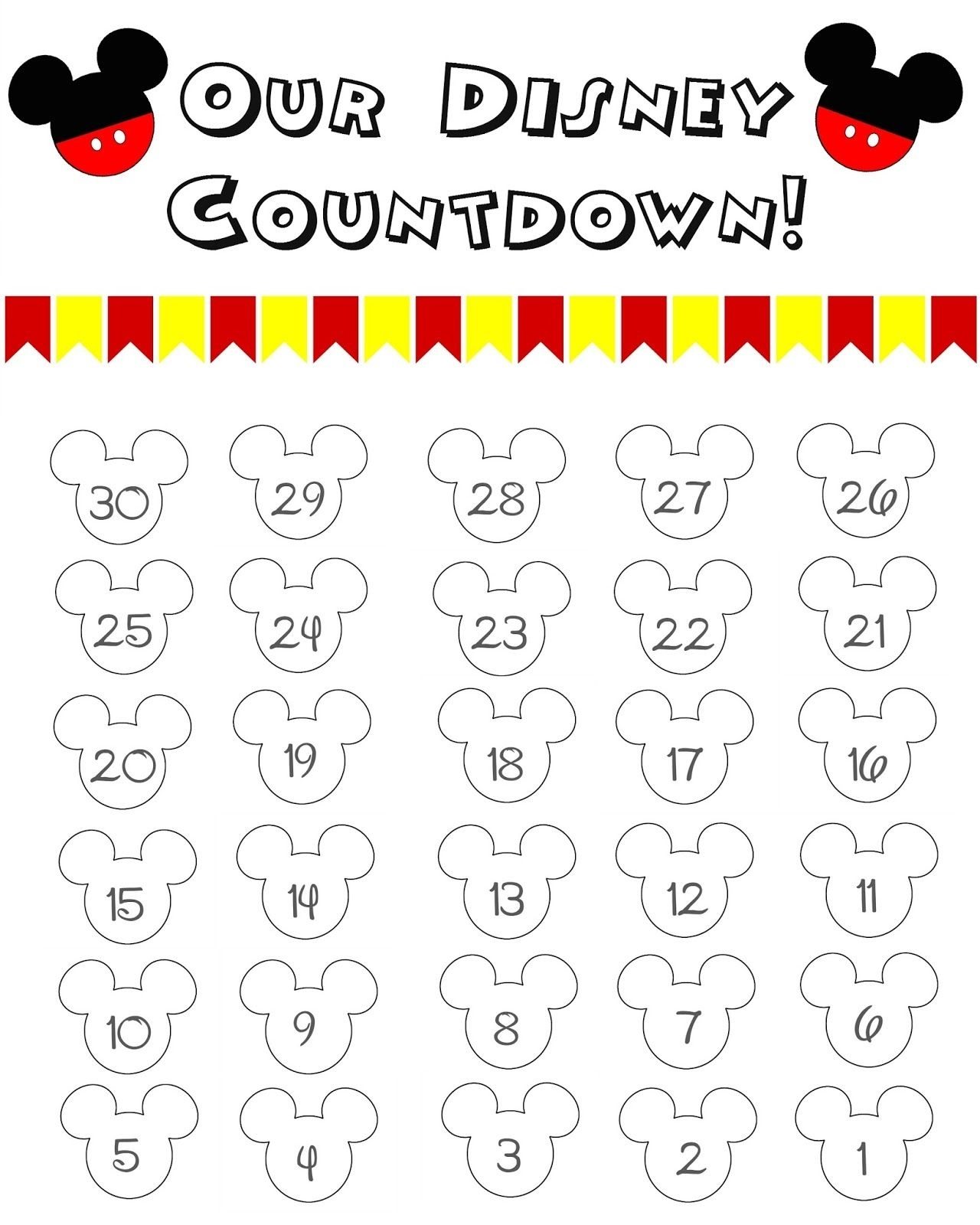 Disney World Countdown Calendar - Free Printable | The Momma Diaries Countdown Calendar In Weeks