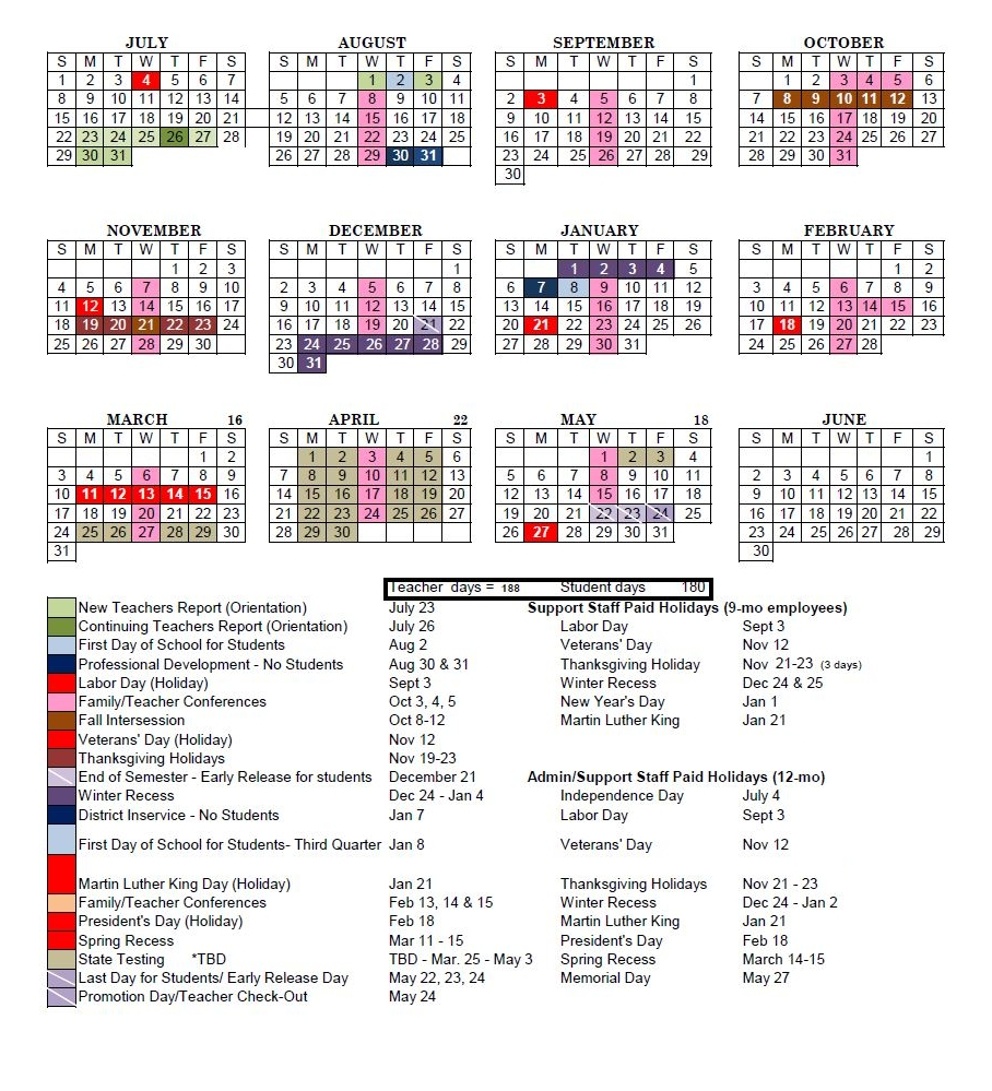 District Calendar District 2 School Calendar