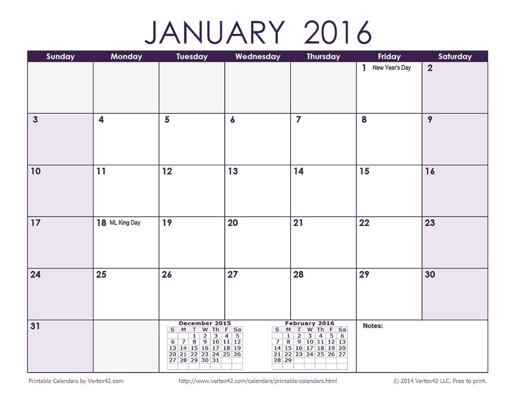 Download A Free 2016 Monthly Calendar - Purple From Vertex42 Calendar Template By Vertex42