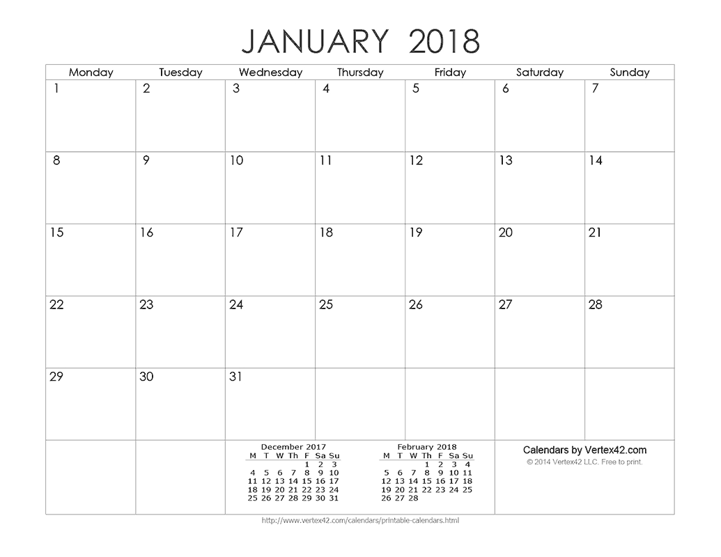 Download A Free Printable Ink Saver 2018 Calendar From Vertex42 Calendar Template By Vertex42