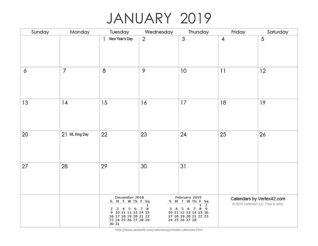 Download A Free Printable Ink Saver 2019 Calendar From Vertex42 Calendar Template By Vertex42