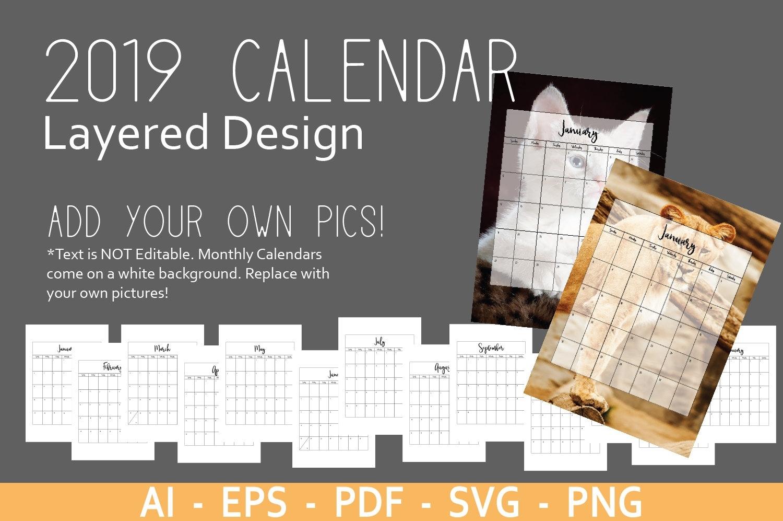 Editable 2019 Calendar Template Add Your Own Pics   Etsy Calendar Template Add Your Own Photos