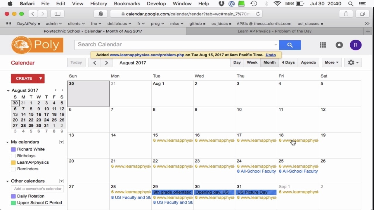 Email Notification Of Recurring Events In Google Calendar - Youtube Exceptional Fox C-6 School Calendar