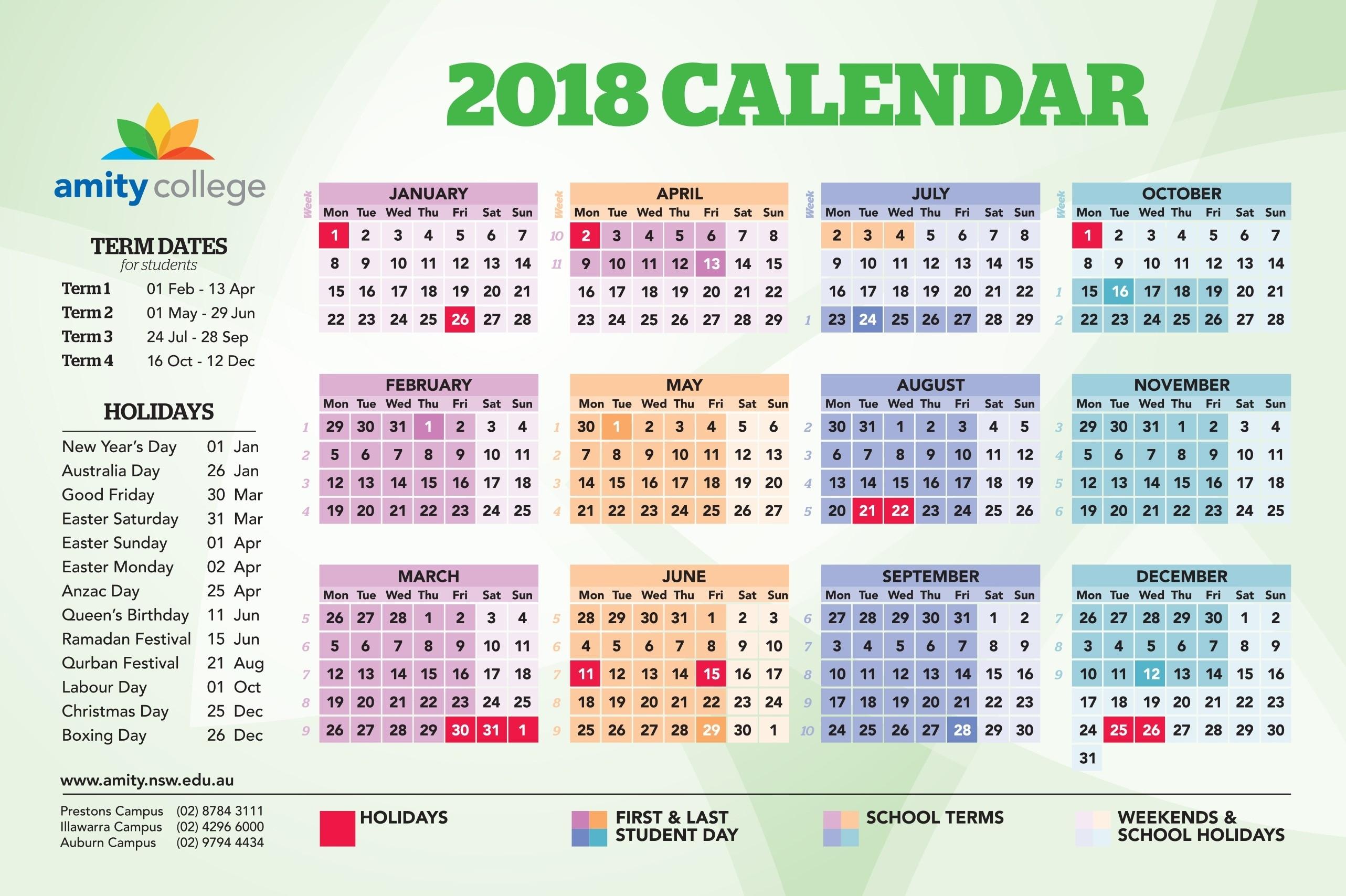 Event Calendar – Amity College Exceptional School Calendar Nsw 2019