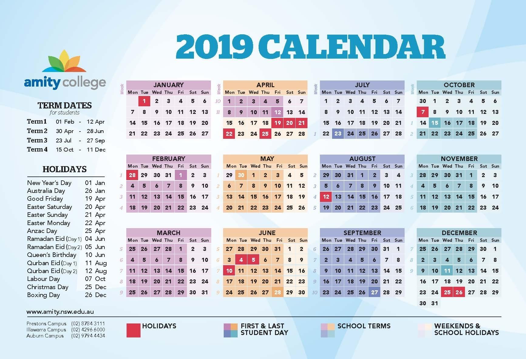 Event Calendar – Amity College School Calendar Nsw 2019