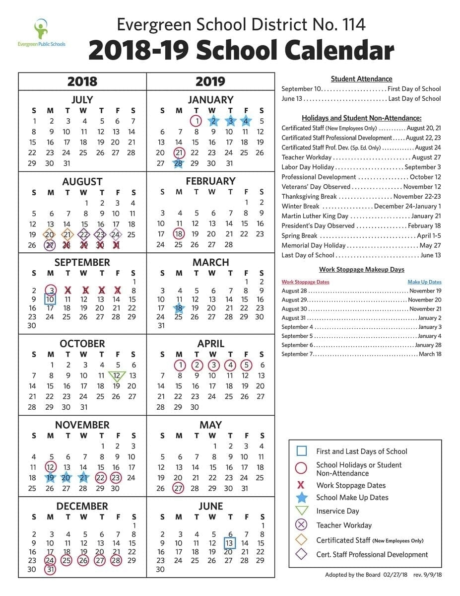 Evergreen School District Releases Post-Strike Class Calendar School Calendar Vancouver Wa
