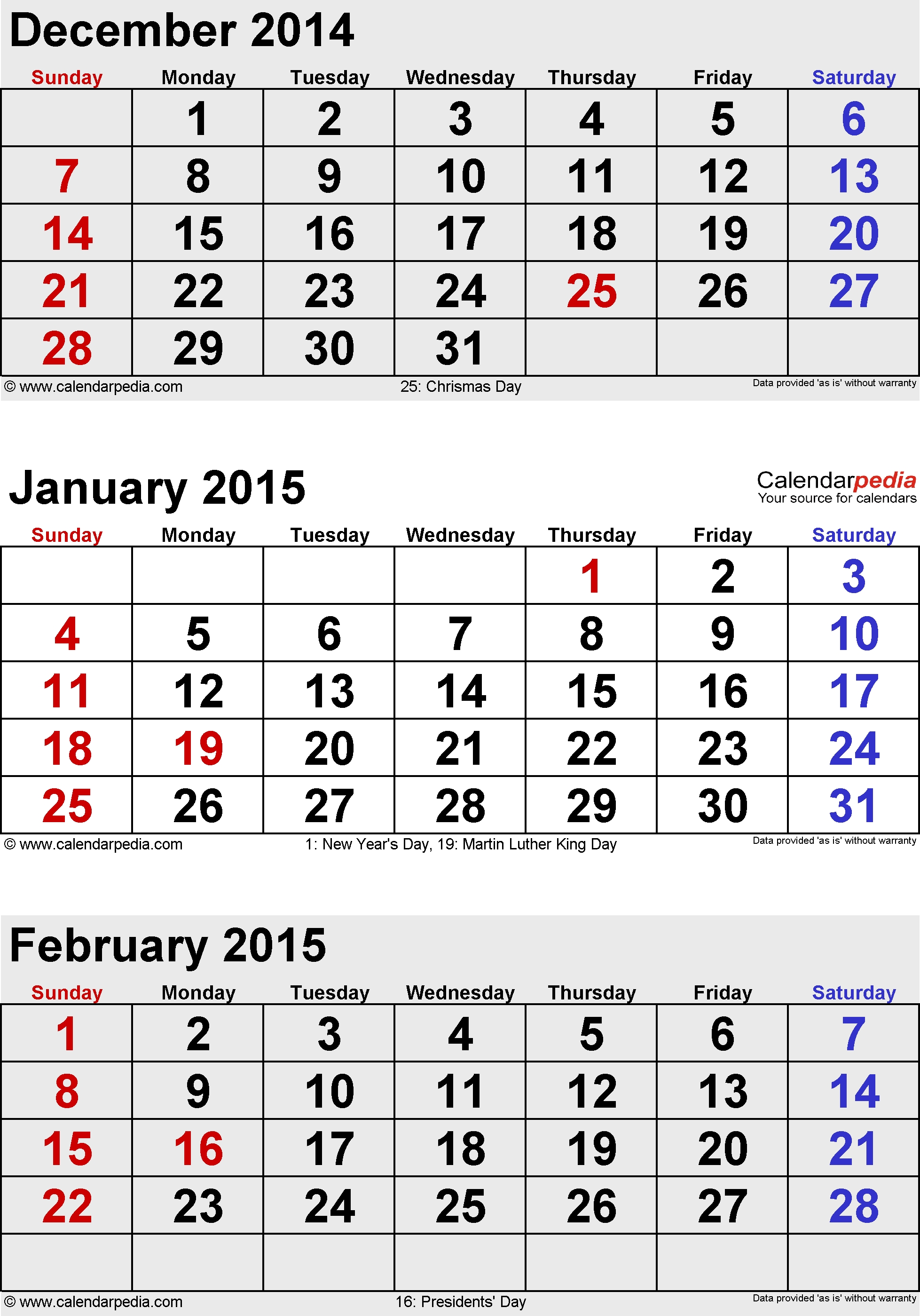 February 2015 Calendars For Word, Excel & Pdf 3 Month Calendar With Holidays