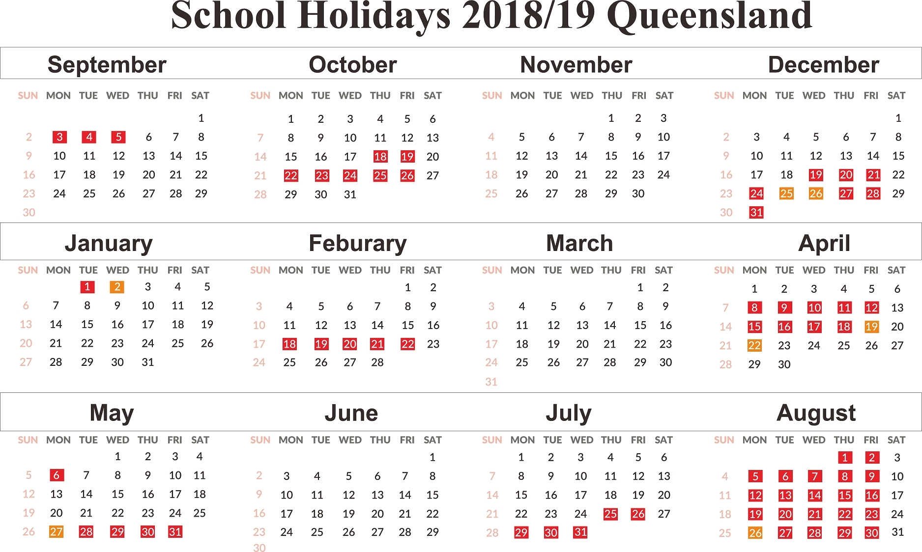 February 2019 – Get Your Calendar Printable 2020 Academic Calendar Griffith