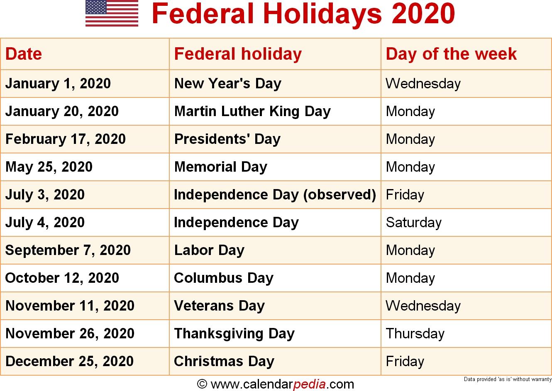 Federal Holidays 2020 Exceptional 2020 Calendar Holiday List