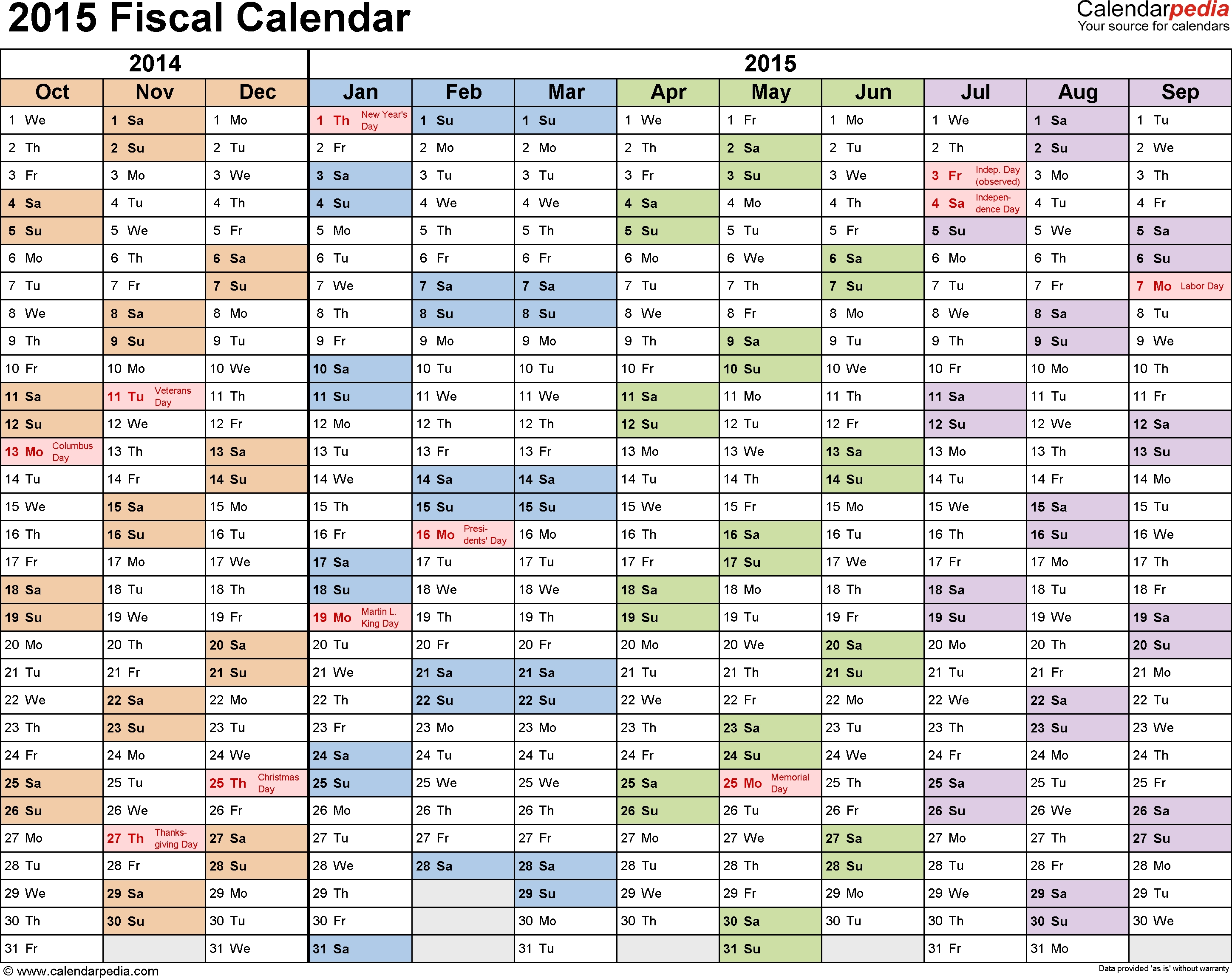 Fiscal Calendars 2015 As Free Printable Pdf Templates Months Of Year Calendar