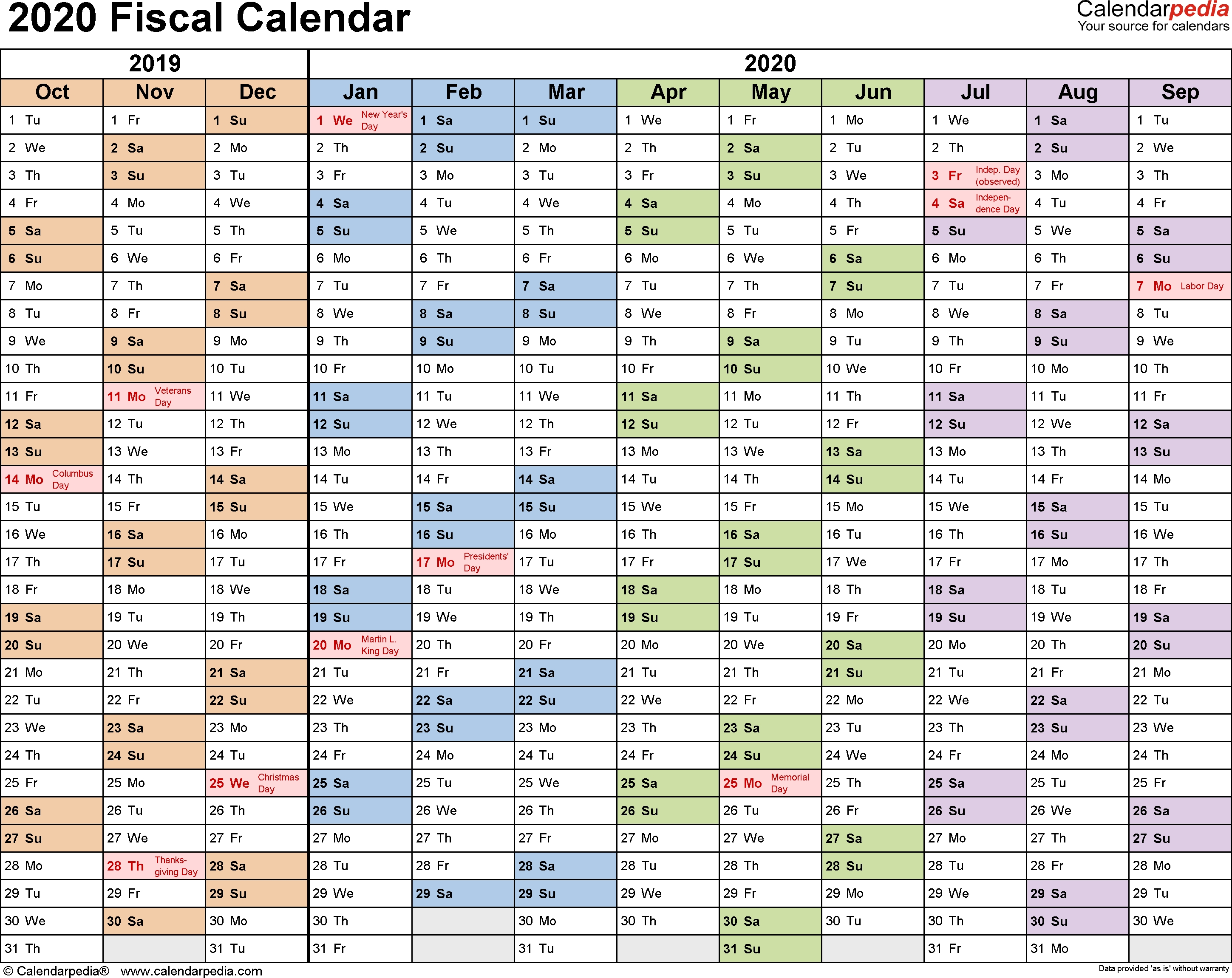 Fiscal Calendars 2020 As Free Printable Pdf Templates 2020 Calendar With Numbered Days