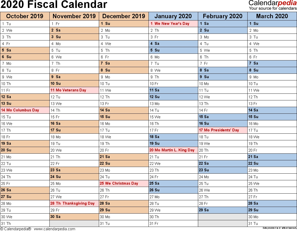 Fiscal Calendars 2020 As Free Printable Pdf Templates Remarkable 2020 Fiscal Year Calendar