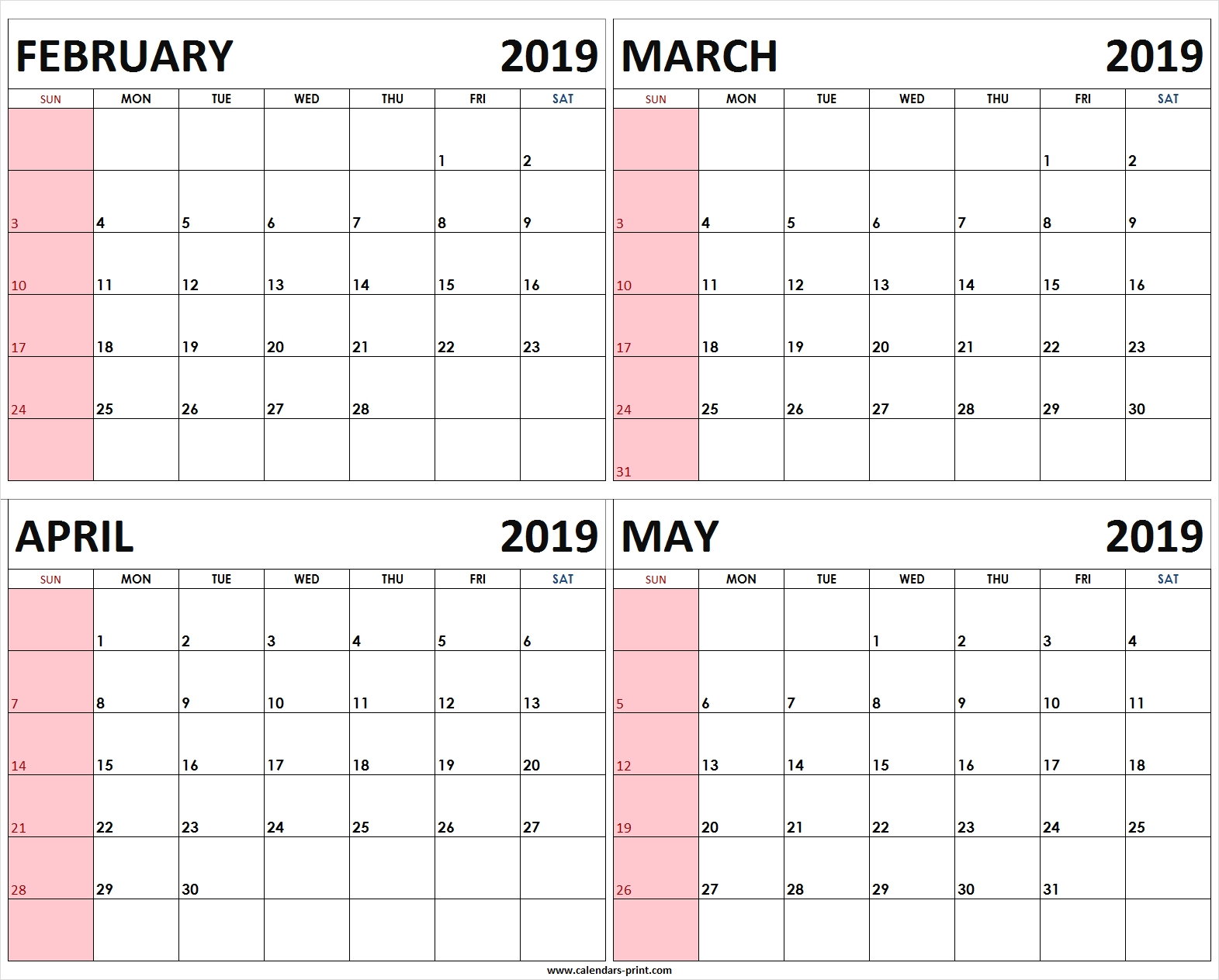 Four Monthly February March April May 2019 Calendar | Template 4 Month Free Calendar Template