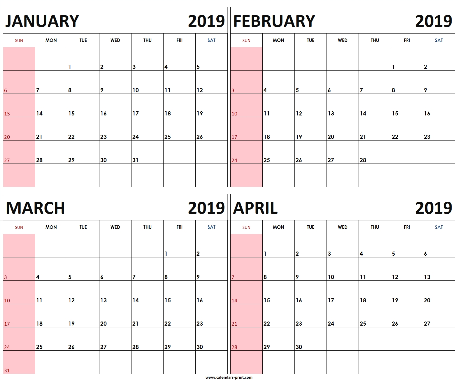 Four Monthly January February March April 2019 Calendar | Template 4 Month Free Calendar Template