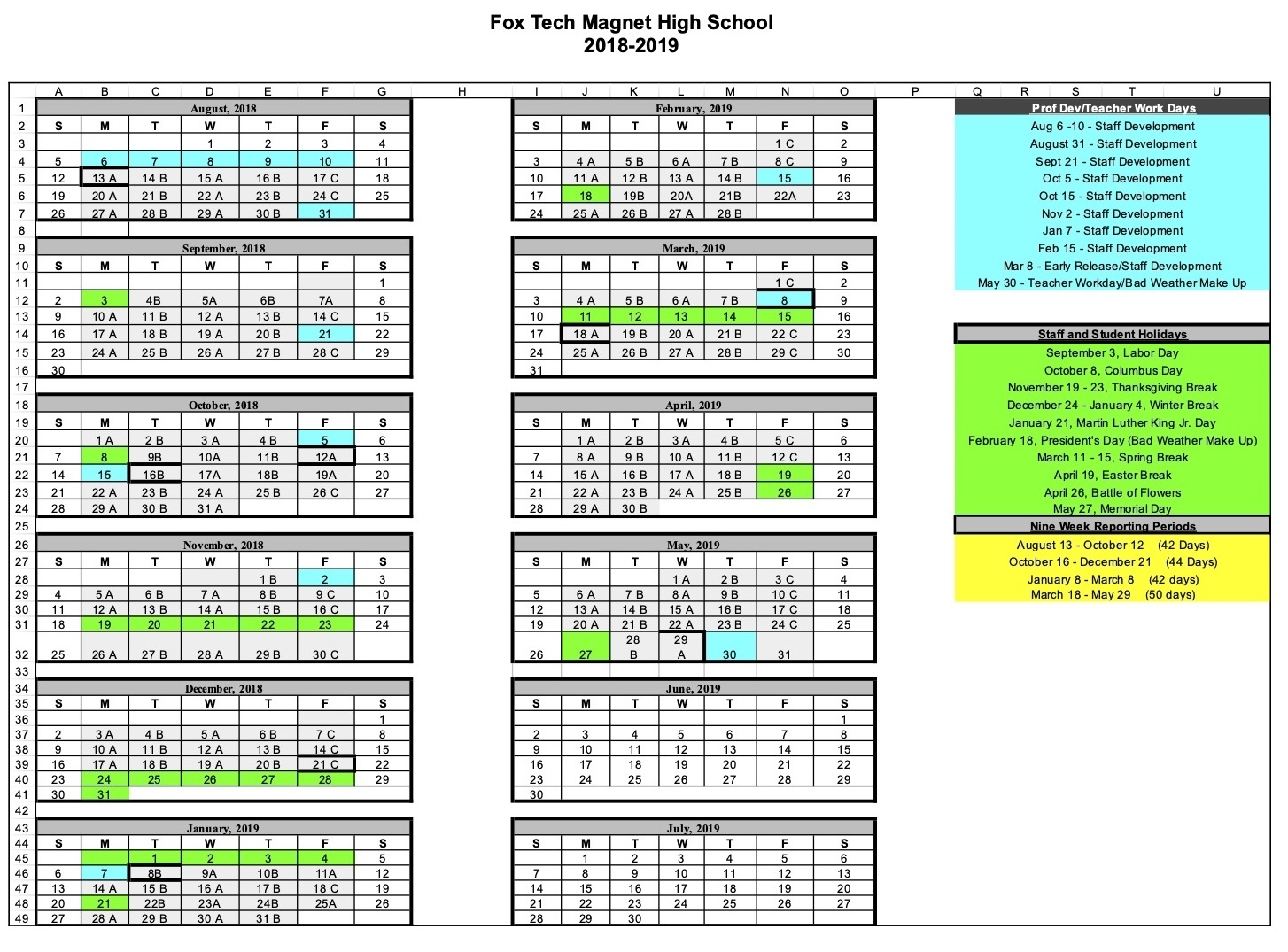Fox Tech High School - Calendar Exceptional Fox C-6 School Calendar