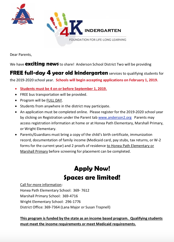 Free 4K Services - Anderson School District Two Anderson 2 School Calendar