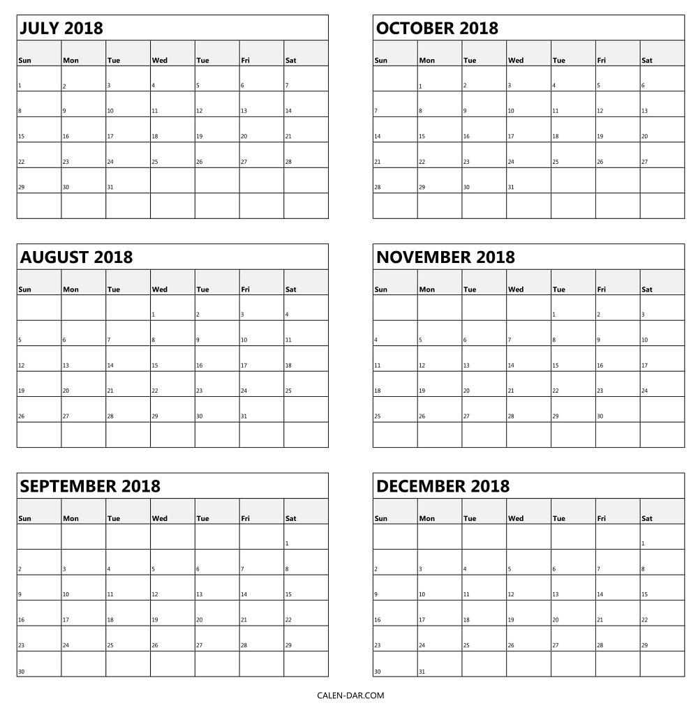 Free 6 Month Calendar 2019 • Printable Blank Calendar Template 6 Month Calendar Blank
