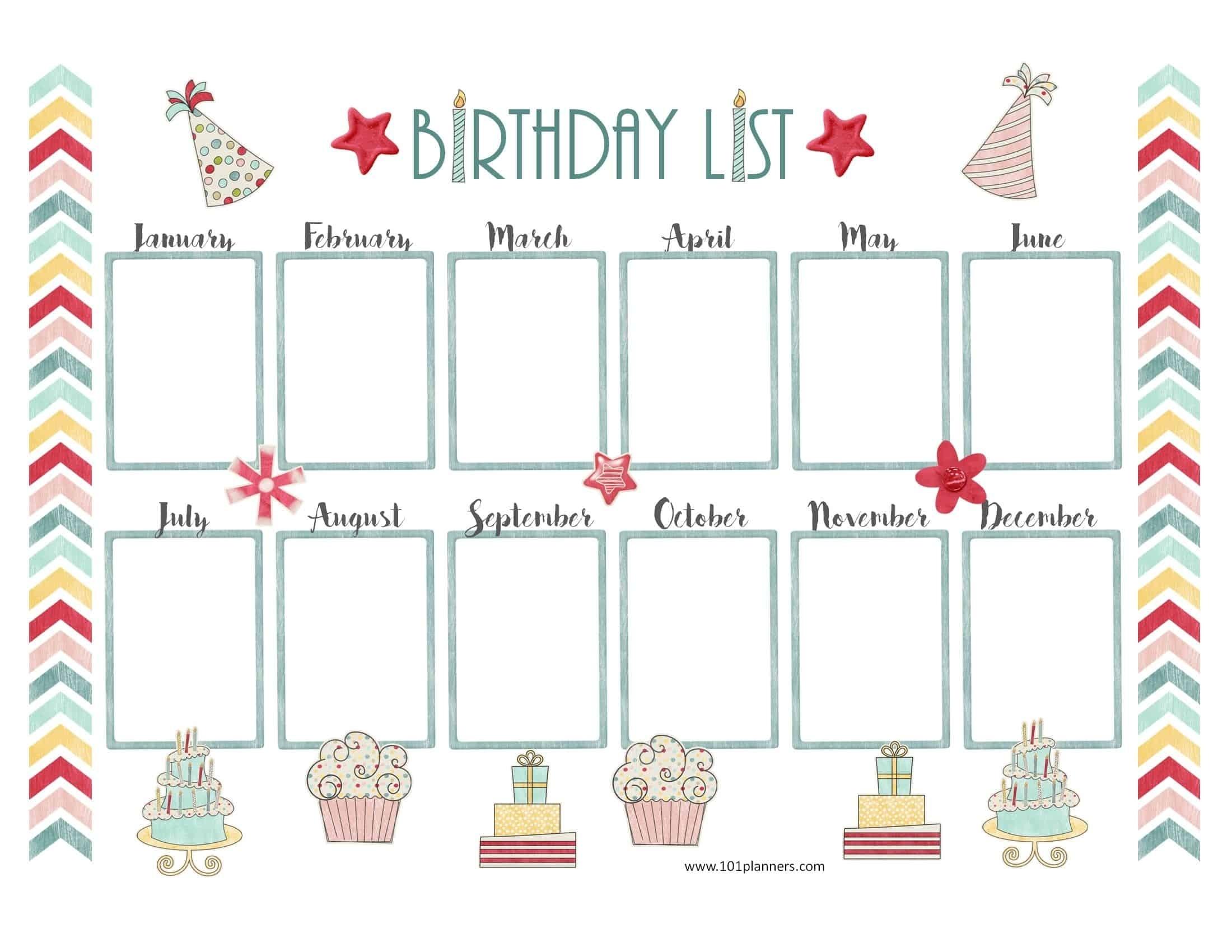Free Birthday Calendar | Customize Online & Print At Home Print At Home Calendar Templates