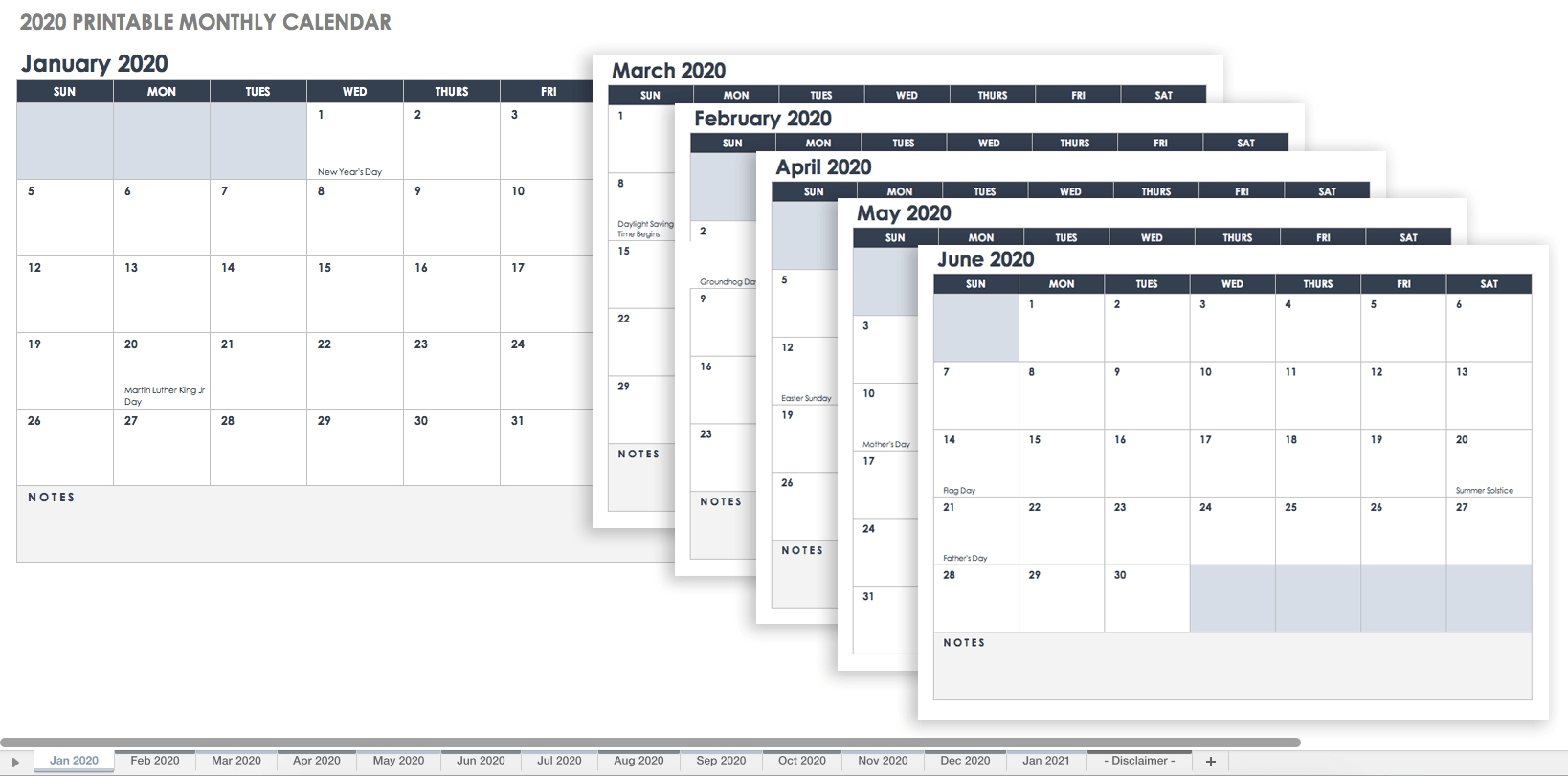 Free Excel Calendar Templates Impressive 2020 Calendar With Numbered Days
