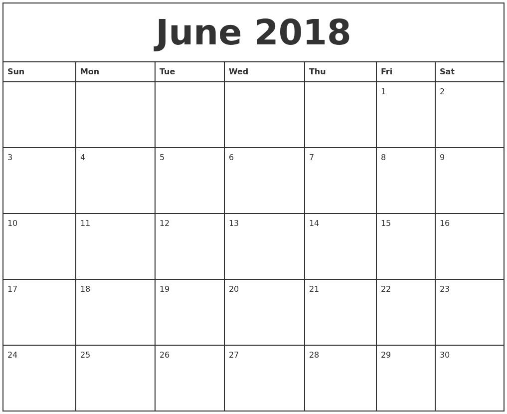 Free June 2018 Calendar Printable Blank Templates - Word Pdf Print At Home Calendar Templates