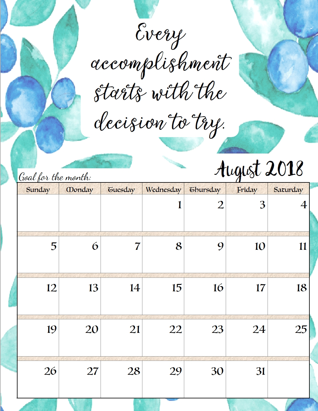 Free Printable 2018 Monthly Motivational Calendars | *stuff C Program To Print Calendar Of Month July