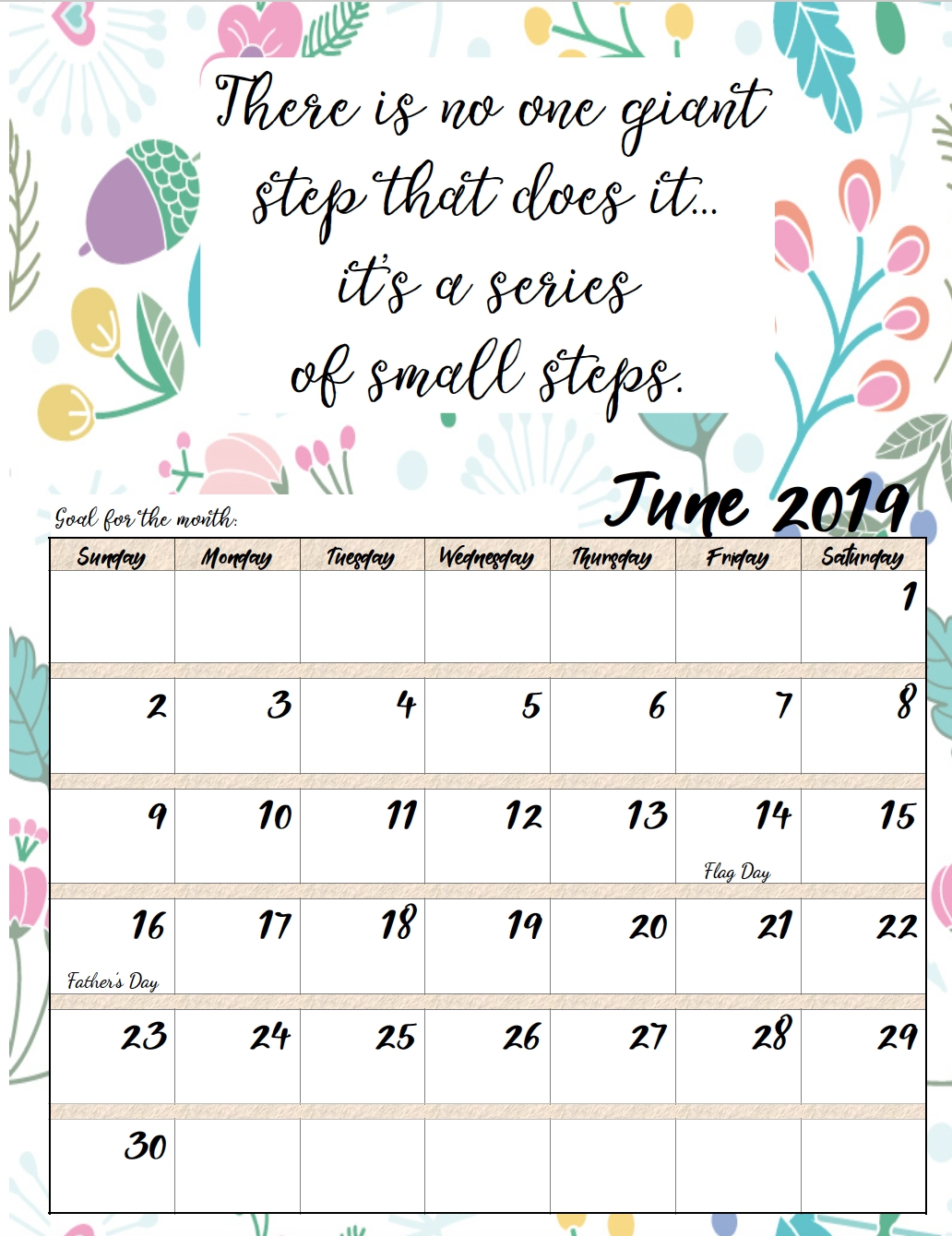 Free Printable 2019 Monthly Motivational Calendars C Program To Print Calendar Of Month July