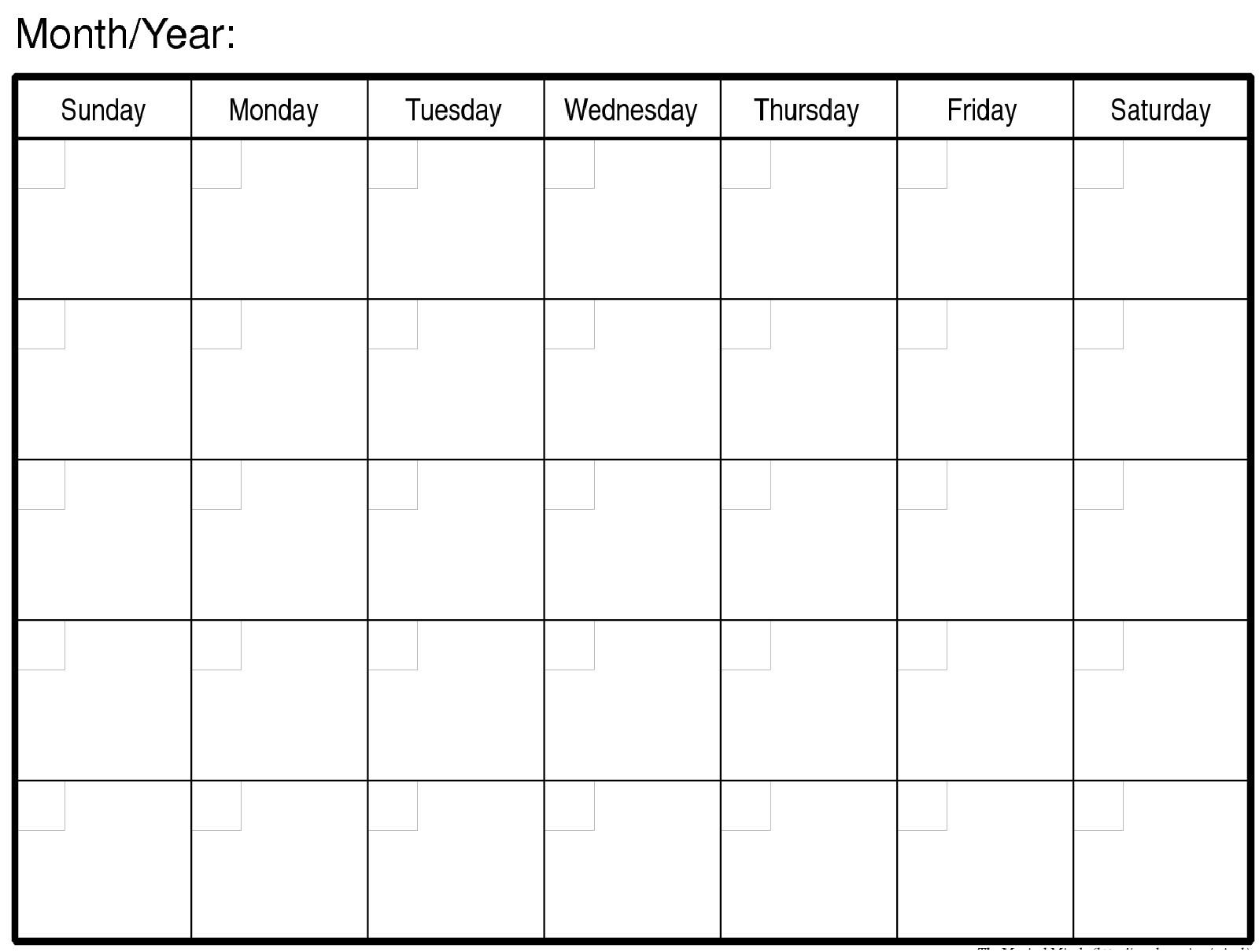 Free Printable Blank Monthly Calendar Template Blank Calendar Month Blank Calendar By Month