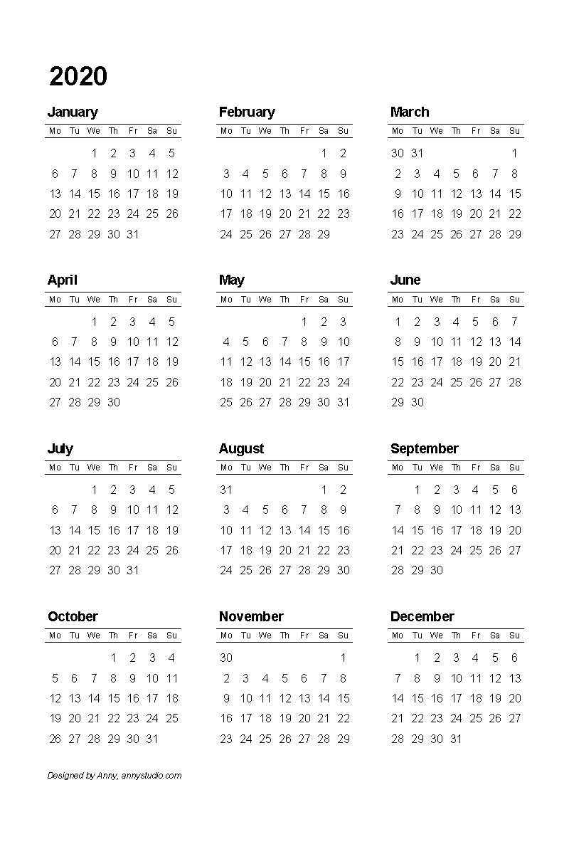 Free Printable Calendars And Planners 2019, 2020, 2021 Perky 2020 Calendar Starting On Monday