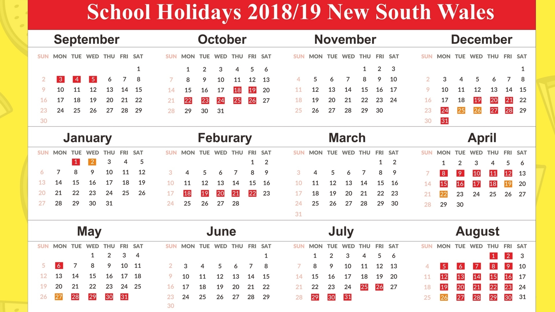 Free Printable School Holidays Calendar 2019 Nsw November 2018 Exceptional School Calendar Nsw 2019