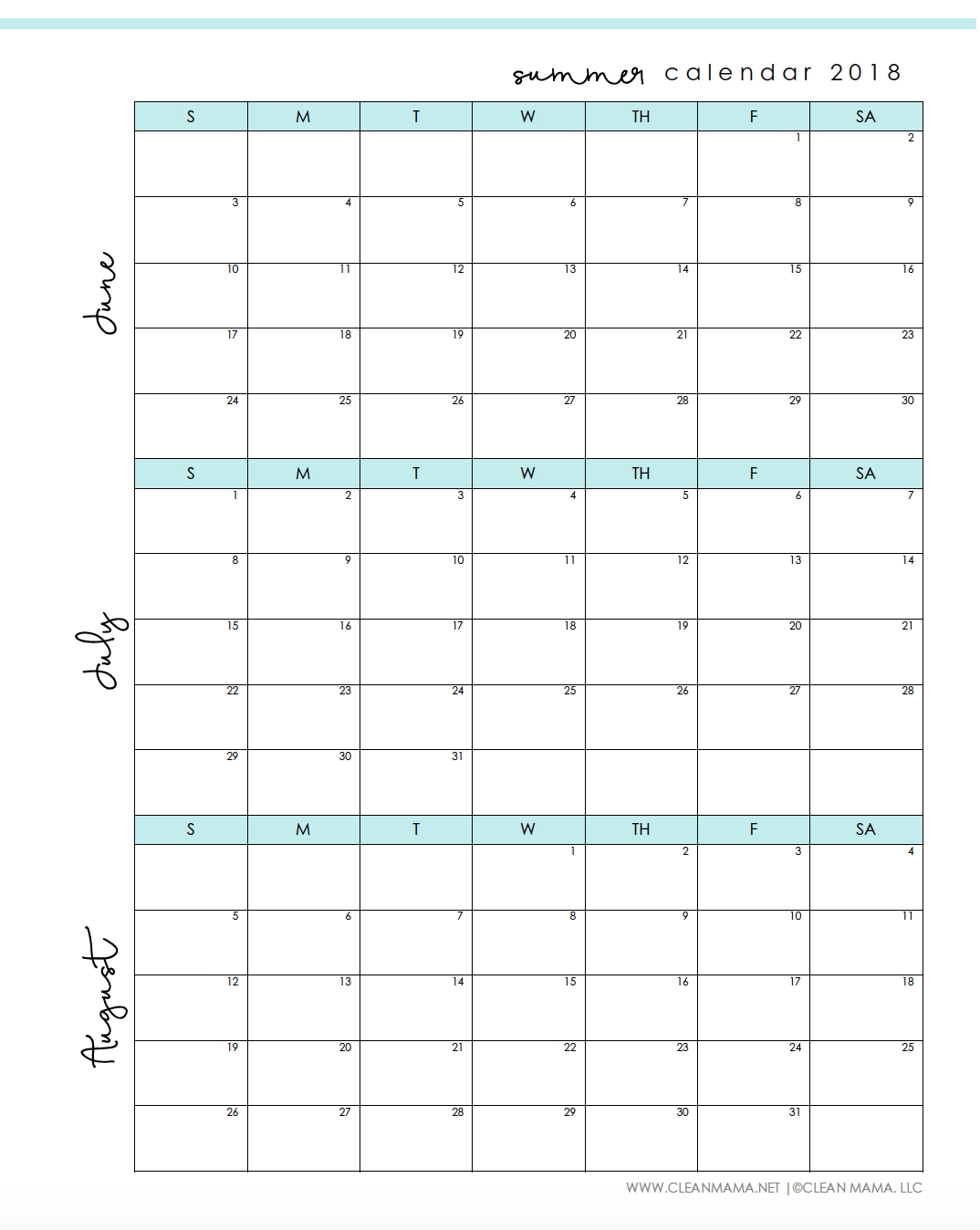Free Printable : Summer 2018 Calendar - Clean Mama C Program To Print Calendar Of Month July