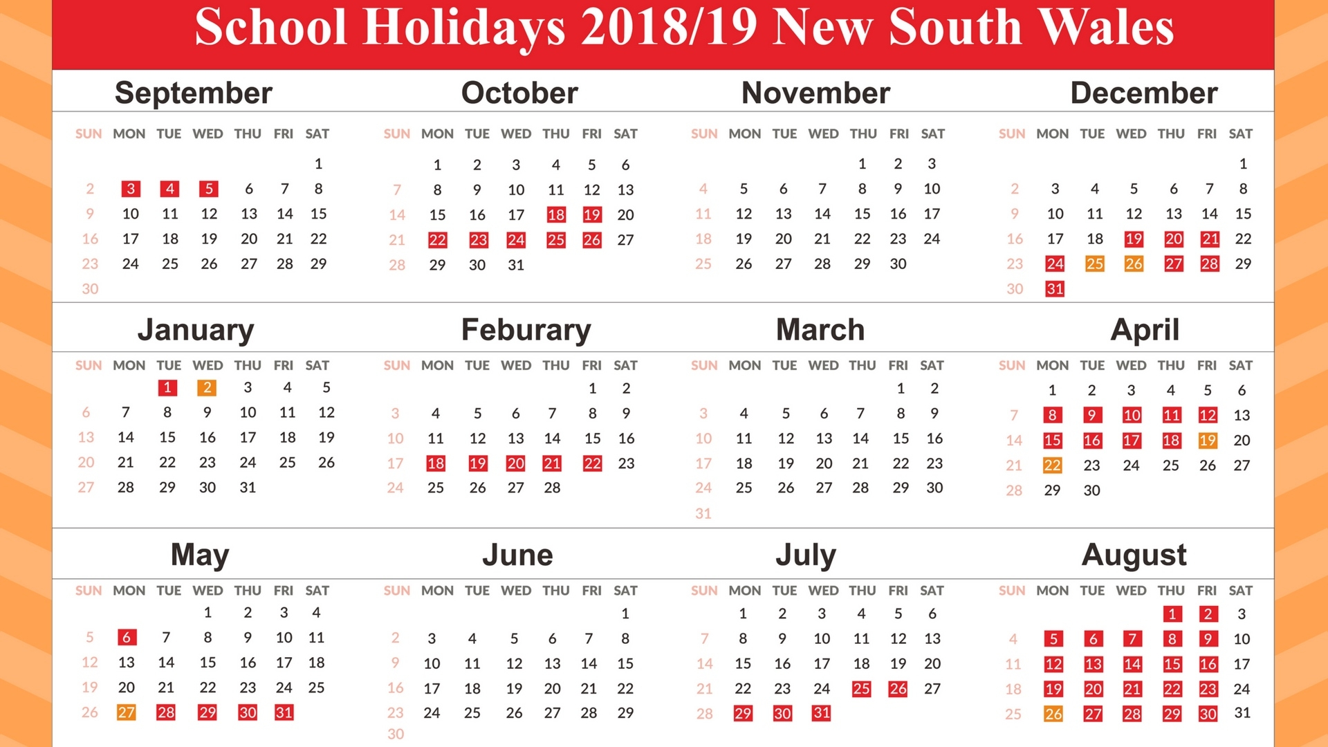 Free Template School Holidays Calendar 2019 Nsw   December 2018 School Calendar Nsw 2019