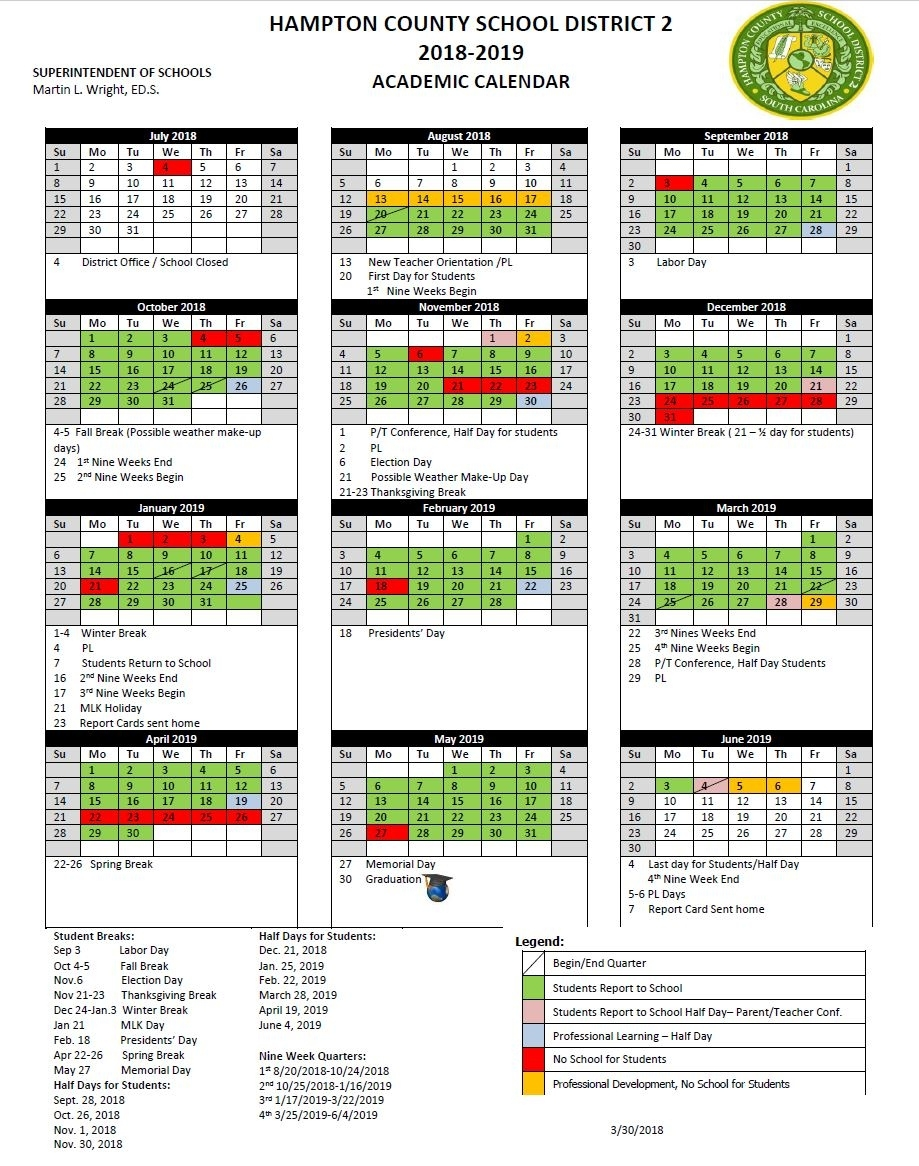 Hampton County School District 2 Calendar 2019 - Publicholidays School Calendar District 2