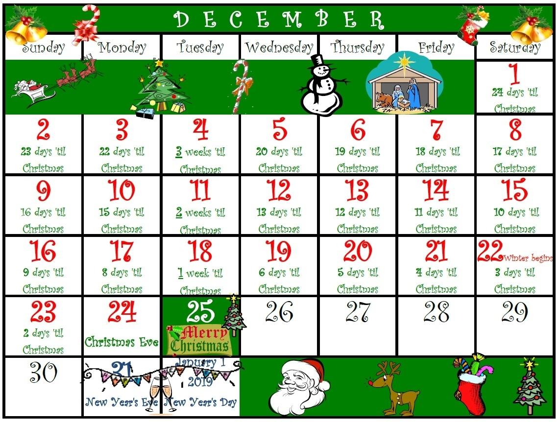 Holidaypages4U - 2018 Christmas Countdown - Printable Christmas Countdown Calendar In Weeks